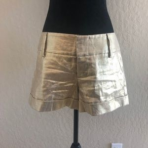 Alice + Olivia Gold Lame Shorts